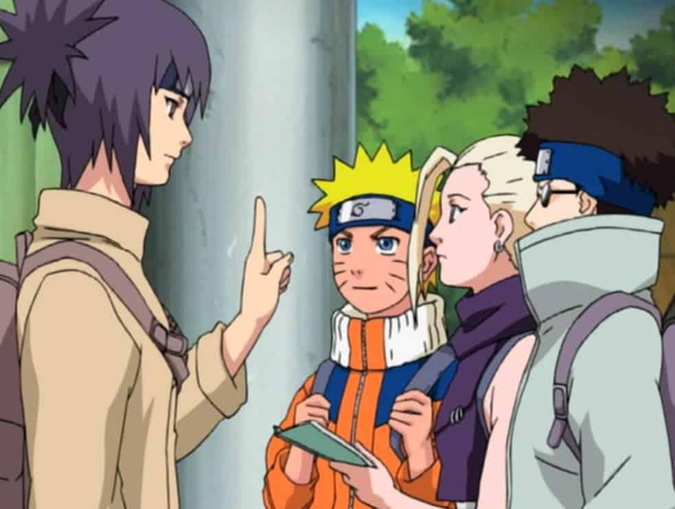 anko falando com shino ino e naruto no filler
