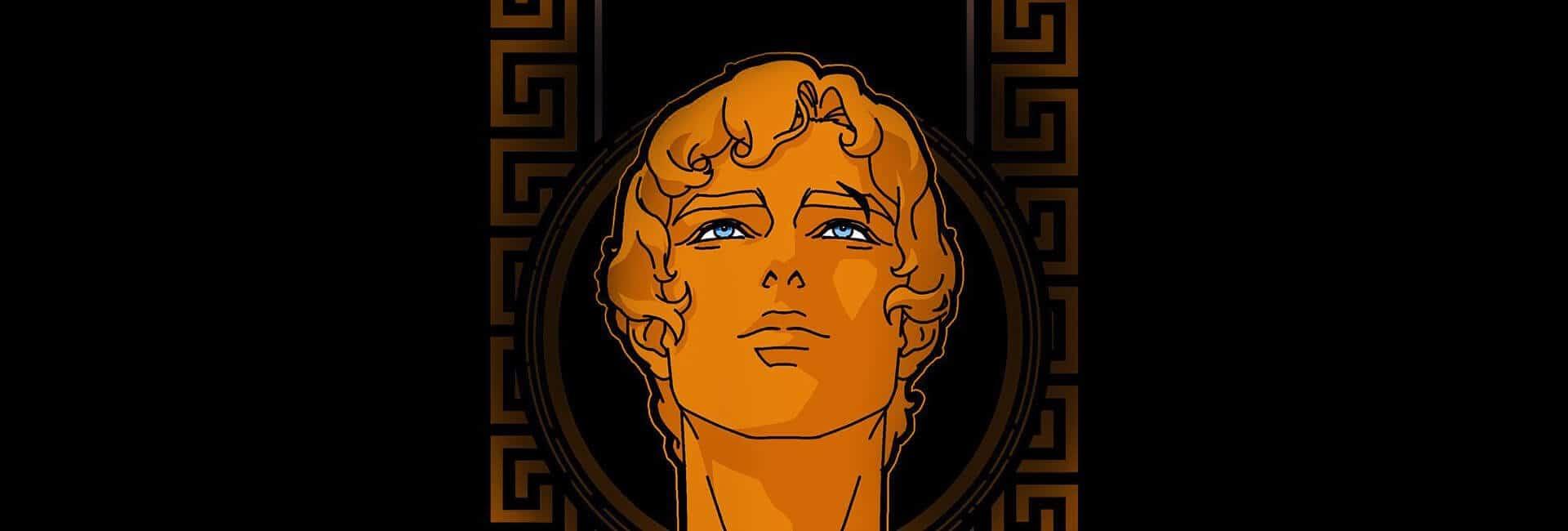 Poster de blood of zeus com personagem ao centro em um estilo grego, laranja com olhos azuis bem caracterizado e com runas atrás como das colunas gregas