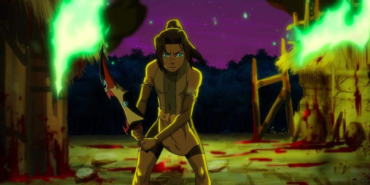 cena de onyx equinox com protagonista com espada sangrenta na mão