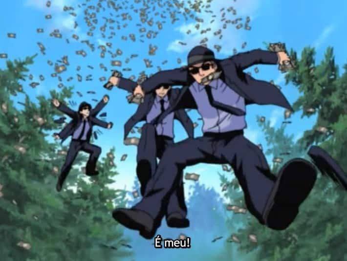 homens pulando na água por dinheiro em naruto