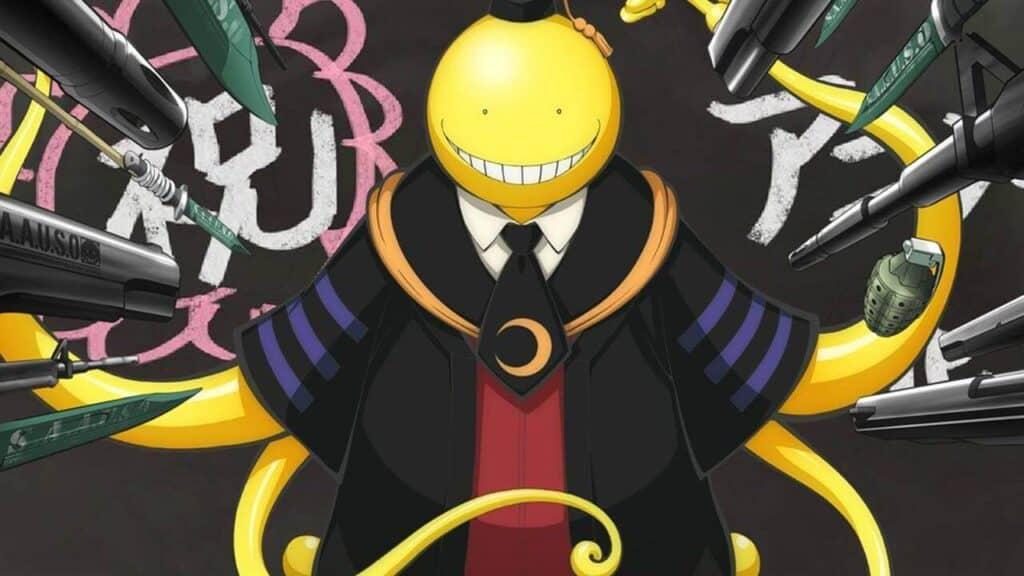 Alienigena amarelo que parece um polvo vestido de prefessor e várias armas apontadas para ele