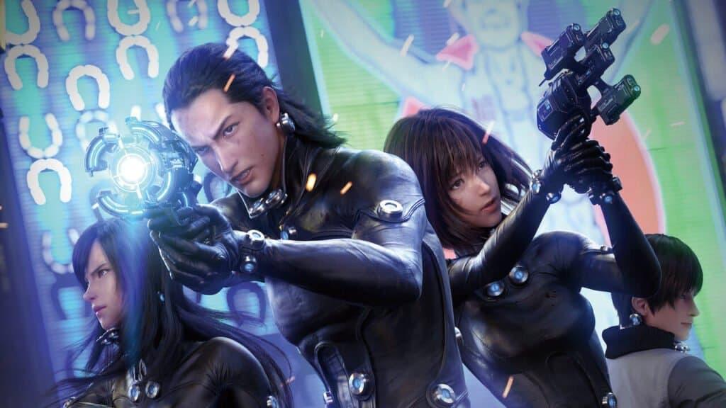 Capa de Gantz: 0. Personagens vestindo uma roupa preta especial segurando uma arma futurística