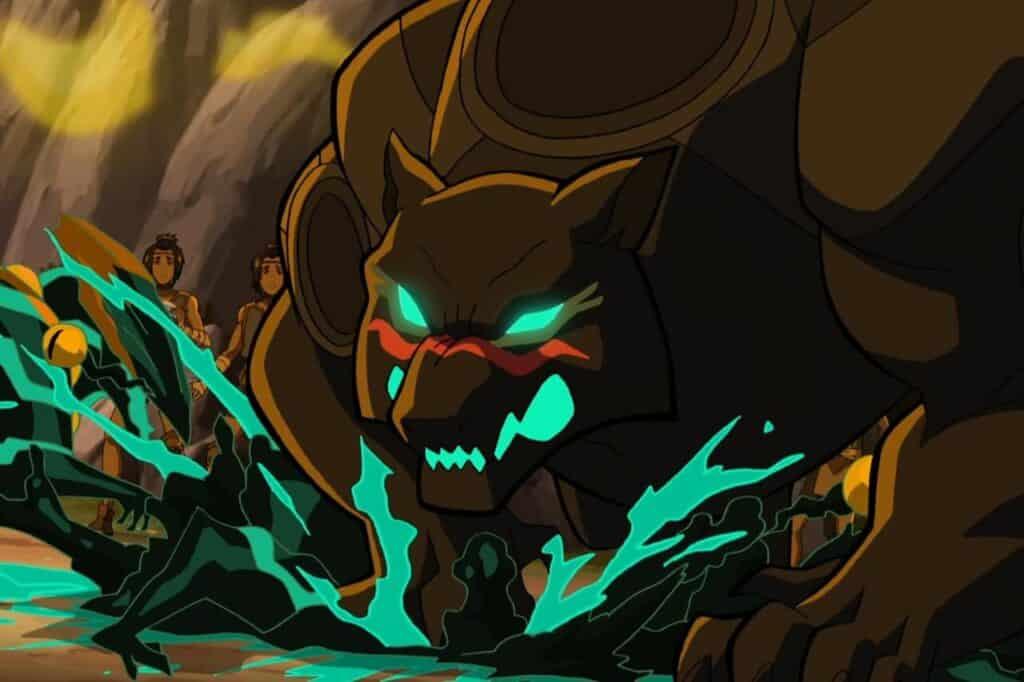 Yoltl esmagando um monstro