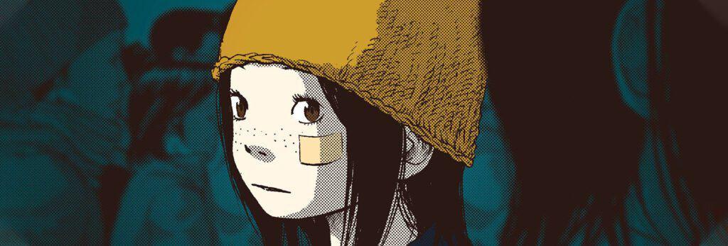 capa mostra a personagem principal com cabelos longos e touca amarela em meio a uma multidão