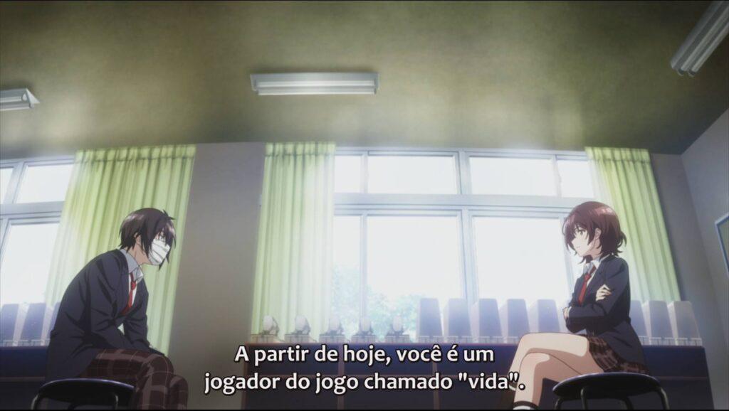 Personagens principais discutindo sobre como funciona a vida jaku-chara tomozaki-kun