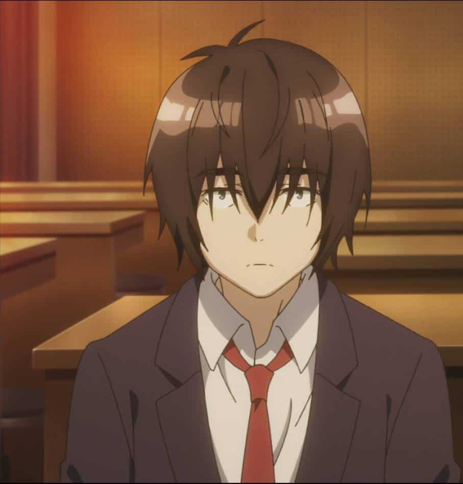 Vizual de Tomozaki no começo do anime Bottom-tier Character Tomozaki