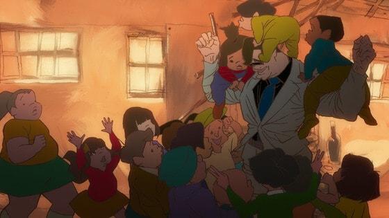 Romeu e as crianças do orfanato em Kick-Heart