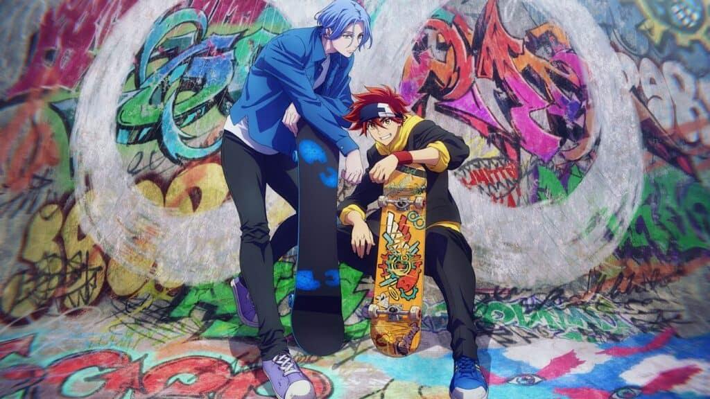 Lega e Reki segurando seus skates na frente de um muro pixado SK8 the infinity