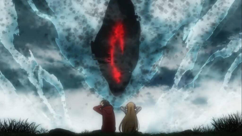 Sorao e Toriko se escondem do monstro em Urasekai Picnic
