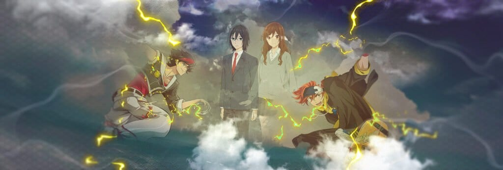 personagens principais de back arrow na esquerda, horimiya no centro, sk8 na direita
