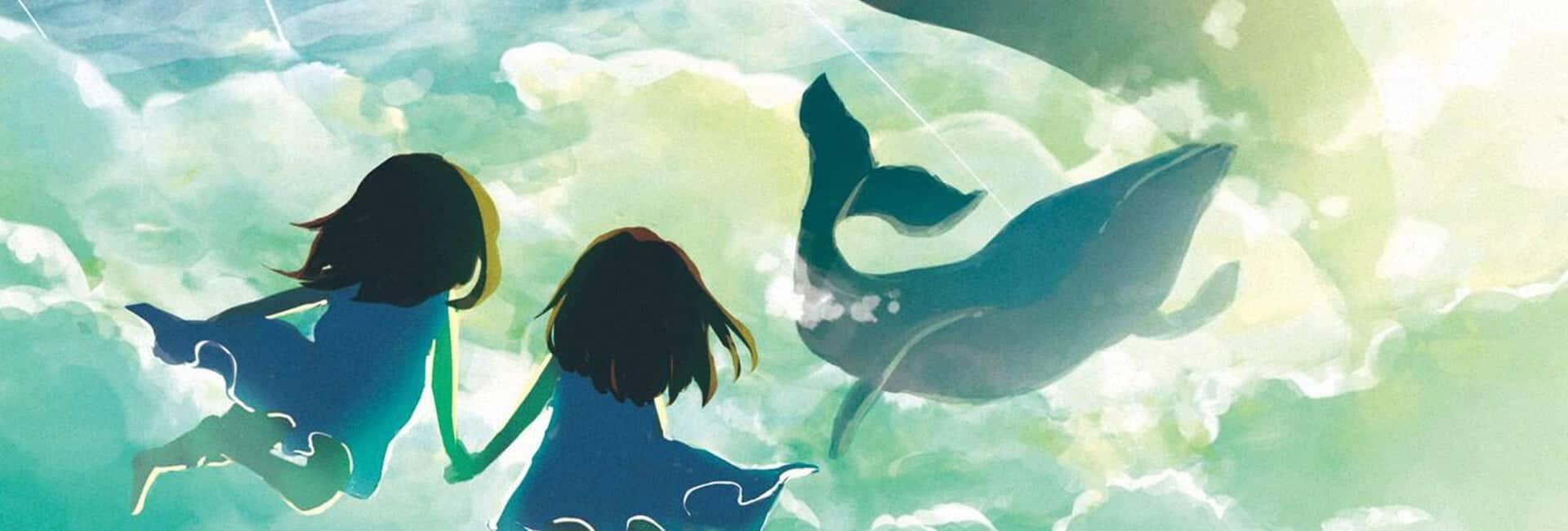 Na imagem mostra duas crianças de mãos dadas observando baleias a nadarem 'nos céus'