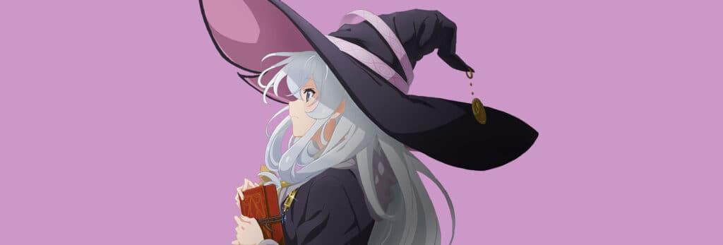 capa que mostra Elaina a protagonista de Majou no tabitabi com um chapéu gigante com laços rosas e pontudo, ela segura um livro e está olhando para o horizonte