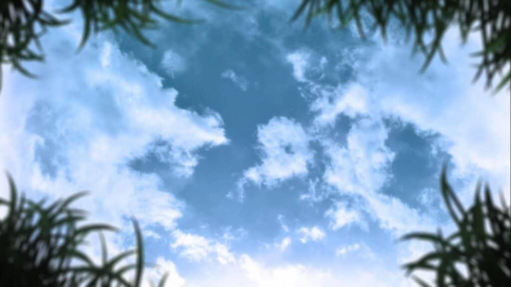 céu azul em Urasekai Picnic