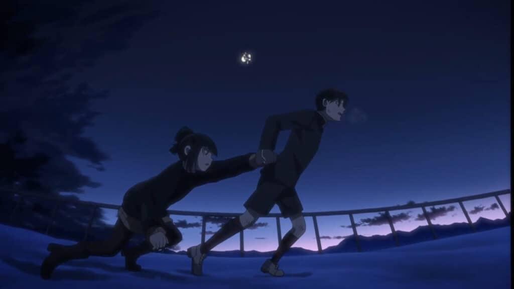crianças fugindo sob a luz da lua em akudama