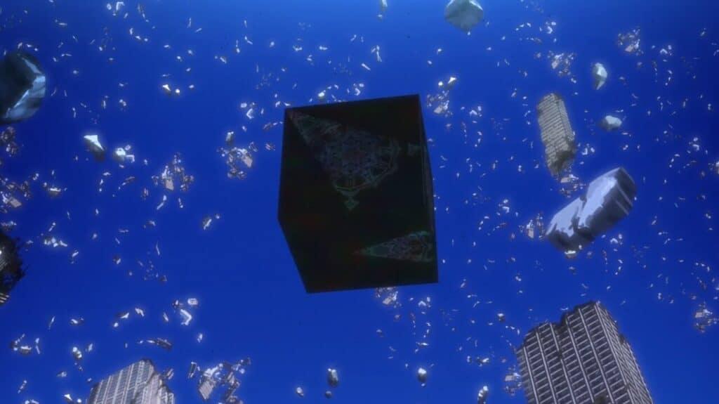 supercomputador quântico em formato de caixa rodeado por céu azul