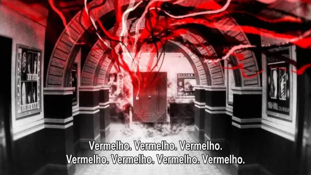 fios vermelhos correndo em direção a uma porta