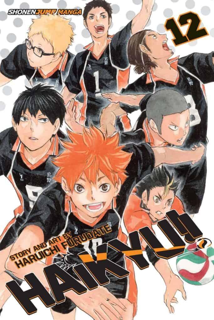 Capa do volume 12 de Haikyuu com os protagonistas reunidos