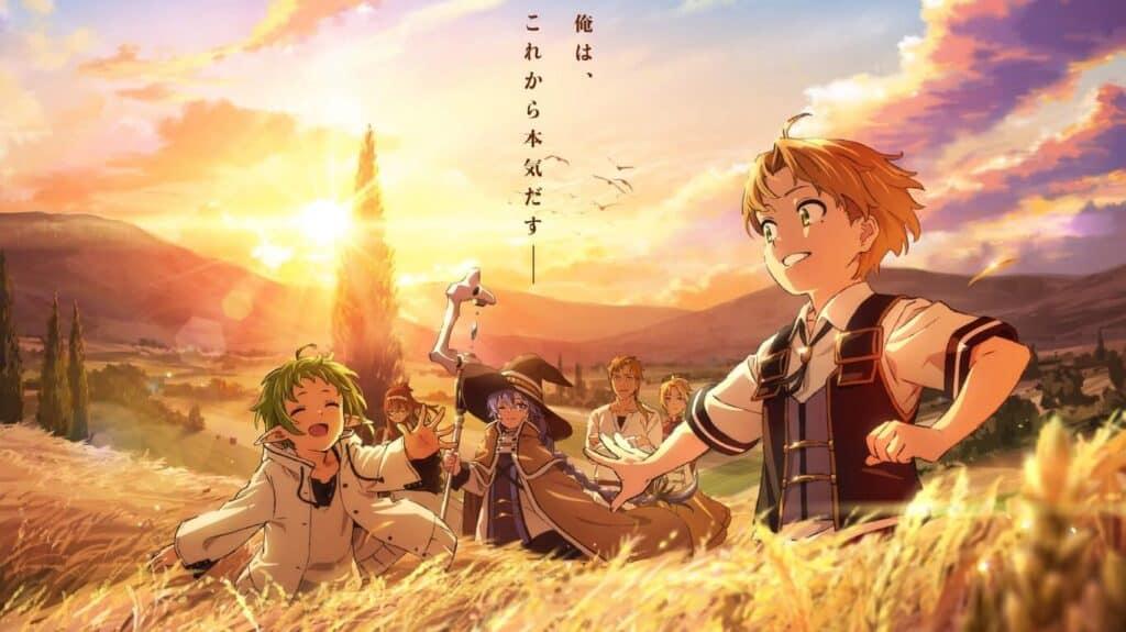 Protagonistas de Mushoku Tensei em um campo de trigo