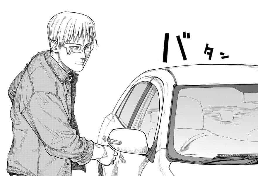Tosaki abrindo a porta do carro