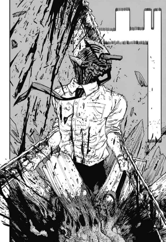 chainsaw man cortando