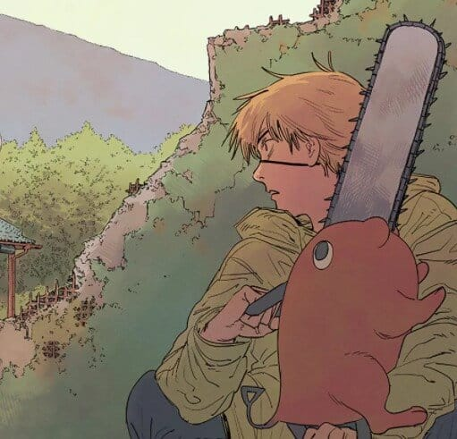 denji segurando o pochita em chainsaw man
