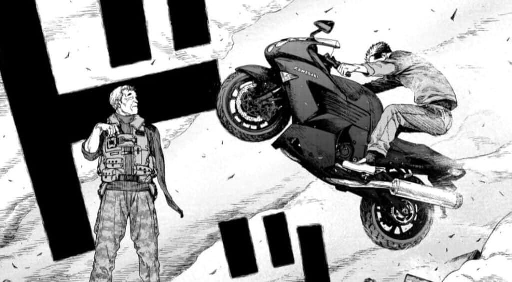kaito salvando o nagai do satou em uma motocicleta