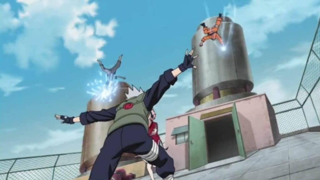 kakashi arremessando naruto e sasuke