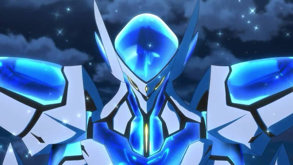 robo azul brilhante em back arrow a noite