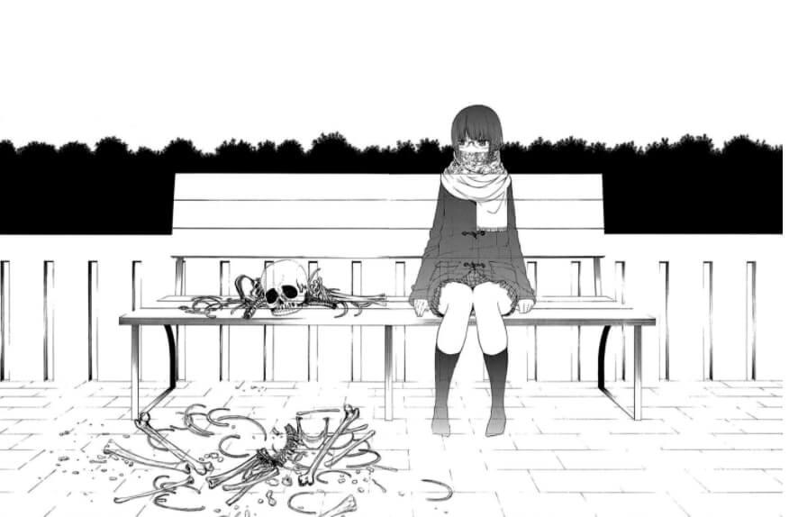 protagonista sentada, desaparecendo, com ossos ao seu lado