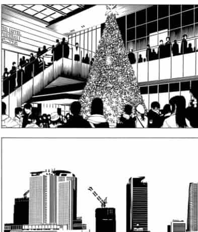 árvore de natal e prédios