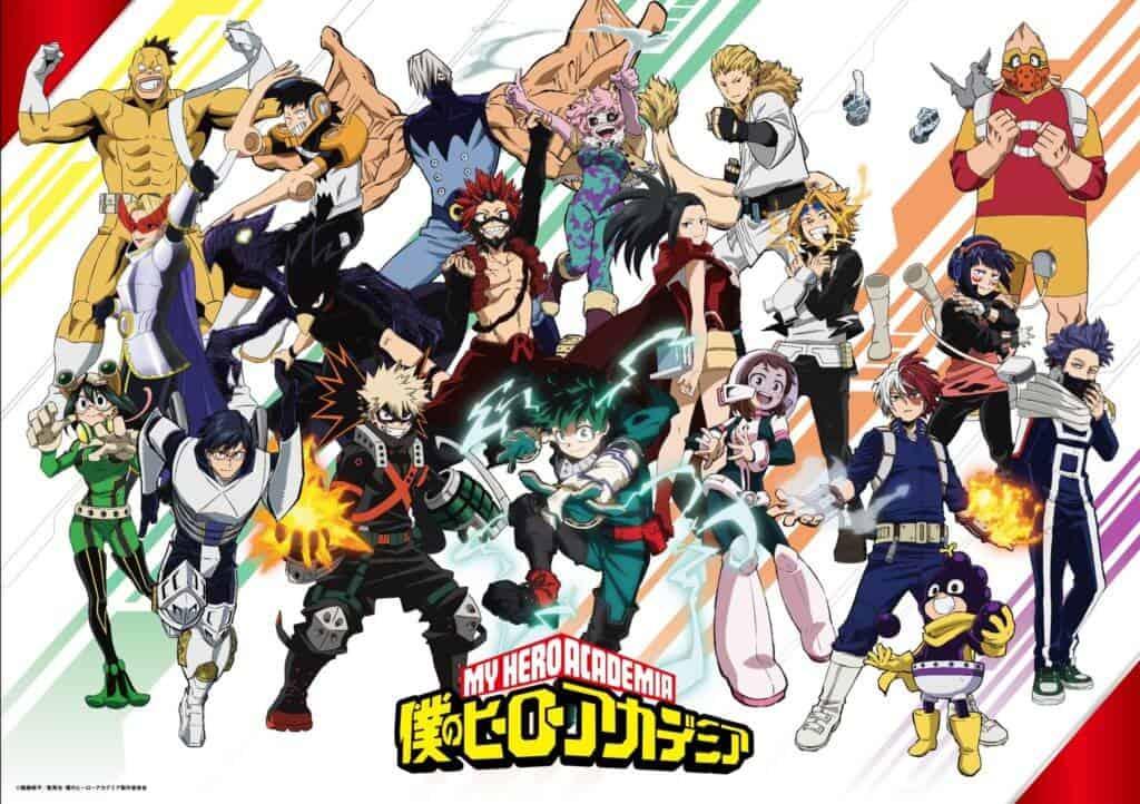 Poster promocional da quinta temporada de Boku no Hero com os alunos da Classe 1A