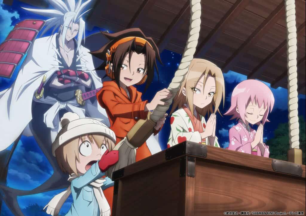 Shaman King 2021 - Yoh, Manta, Amidamaru, Anna e Tamao juntos num templo