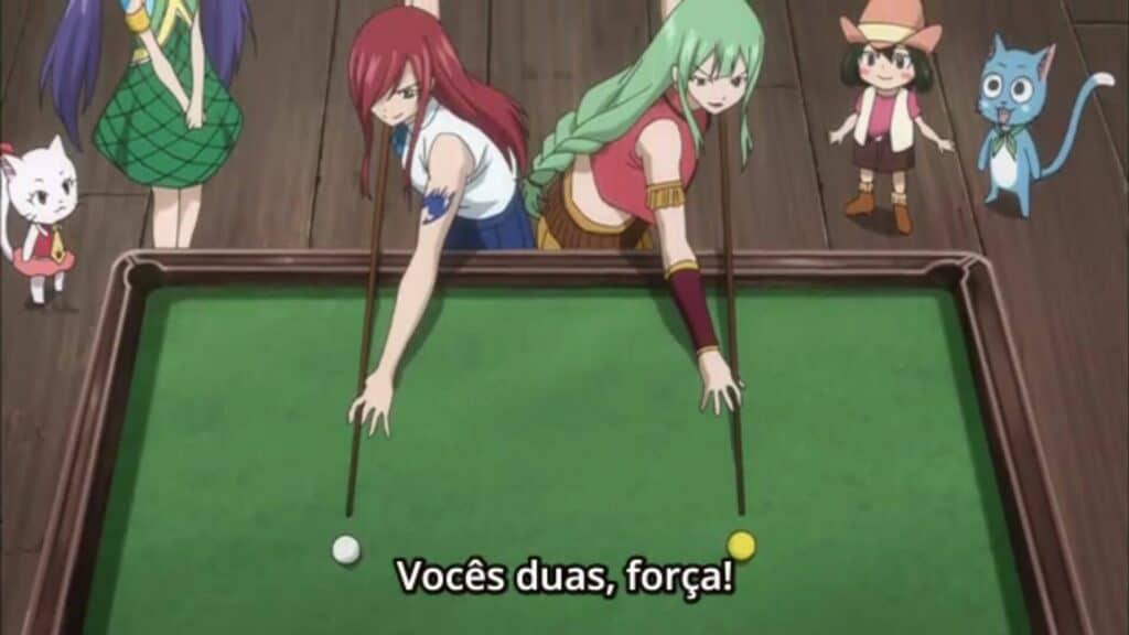 Erza e Bisca jogando sinuca