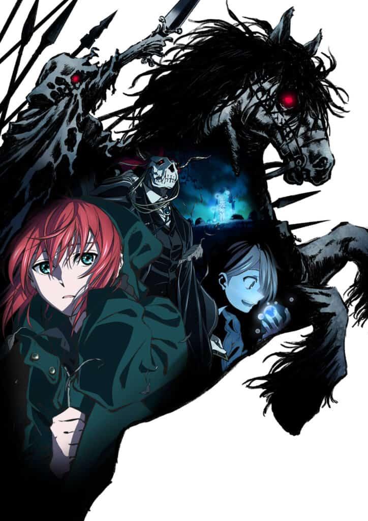 Imagem Promocional de Mahoutsukai no Yome, com Chise, Elias, Gabriel e a Caçada selvagem.