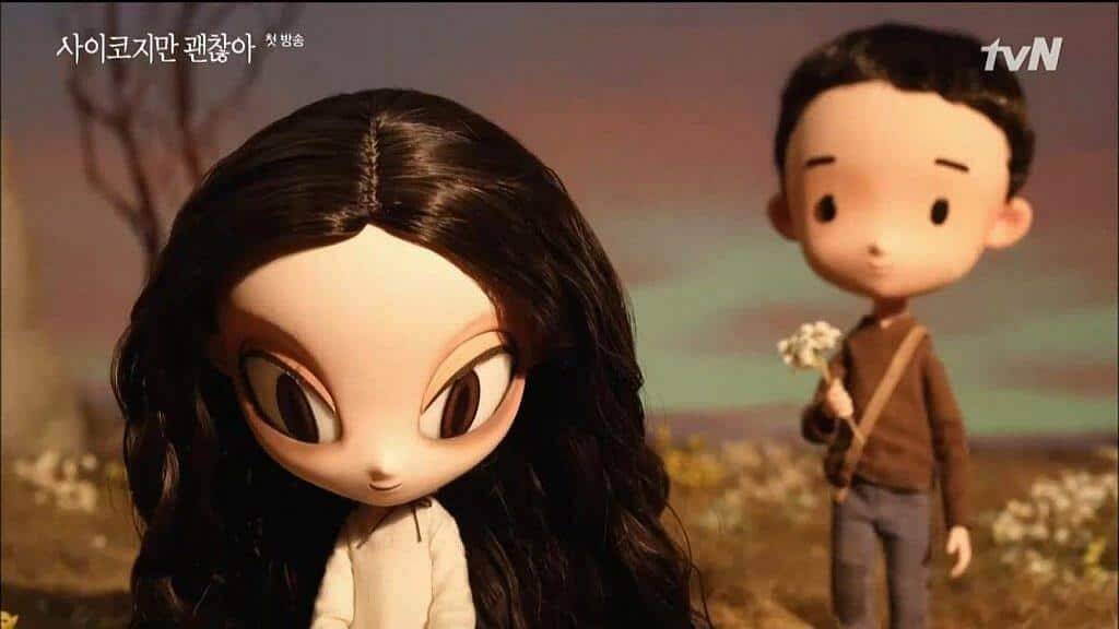 Imagem da história animada do conto inicial apresentado na série com uma menina e um menino segurando flores