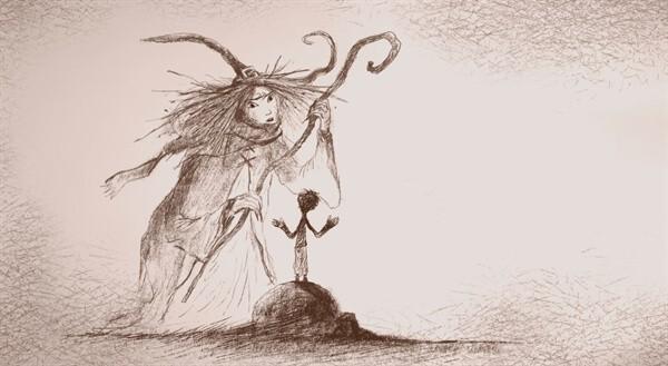 Ilustração da bruxa e o menino, do livro O Menino que se Alimentava de Pesadelos