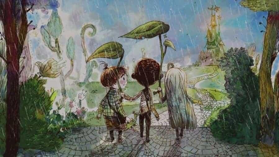 Ilustração do último livro apresentado na série Its Okay To Not Be Okay, com dois meninos e uma menina na chuva