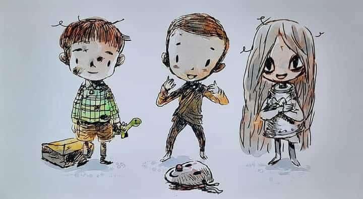 Imagem do livro final da escritora Ko Mun-yeong com três personagens, dois meninos e uma menina