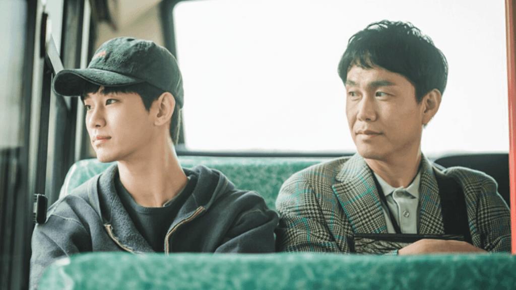 Imagem retirada da série Its Okay To Not Be Okay dos irmãos Moon sentados no ônibus