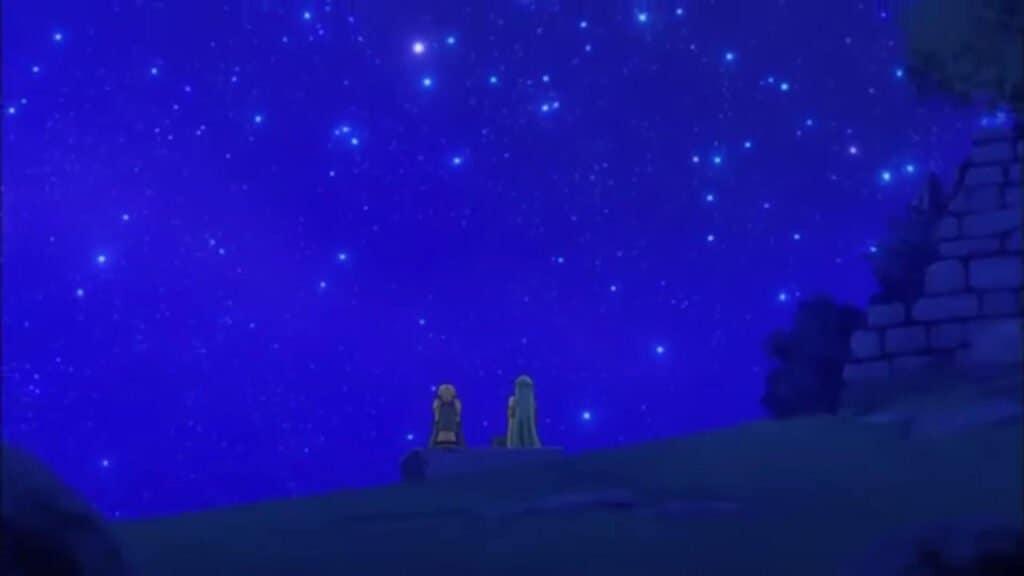 Lucy e Aquarius vendo o céu noturno