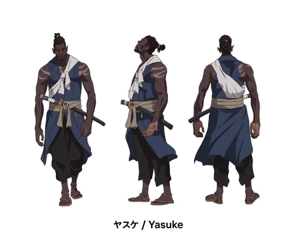 Yasuke de varios ângulos