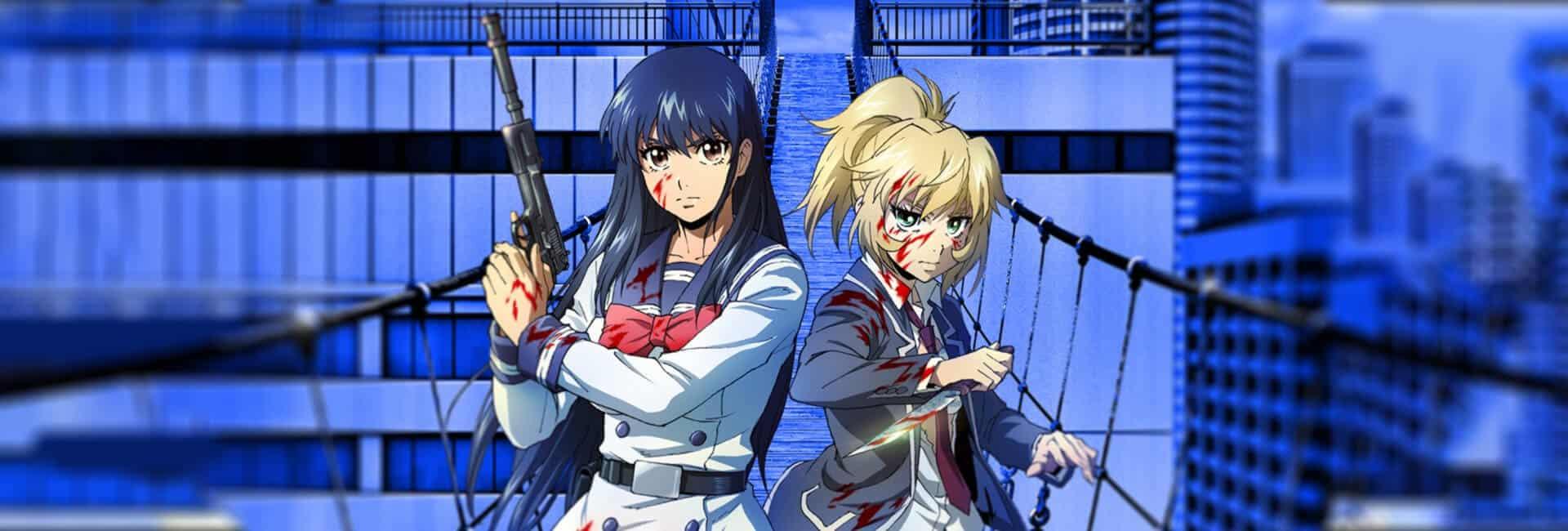 personagens principais em uma ponte em cima de um prédio, com roupas de colegiais, segurando armas