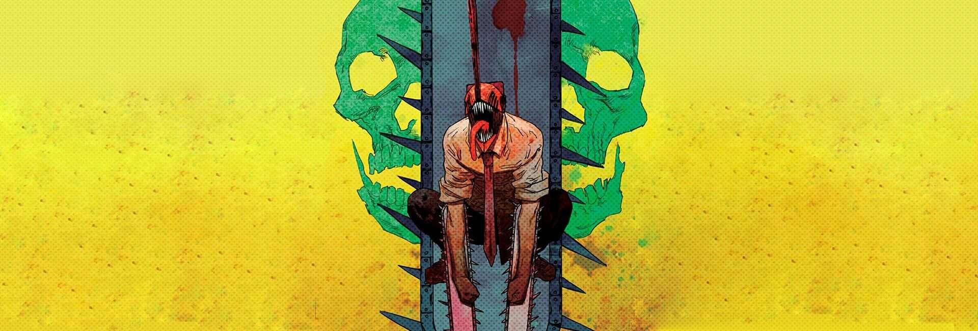 a capa mostra ao centro o protagonista do mangá em sua transformação com a cabeça no formato de motossera, e outras 2 lâminas de motosserra em cada um dos braços