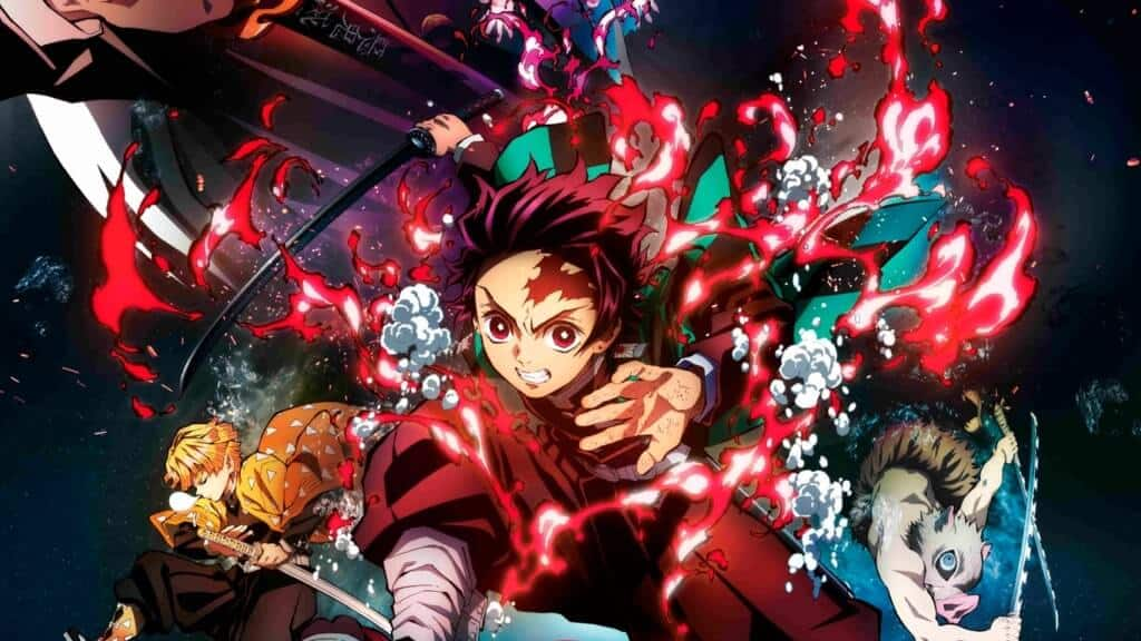 Recorte do poster do filme de Demon Slayer Mugen Train com os personagens Tanjirou, Zenitsu e Unousuke