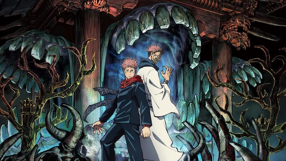 Itadori Yuji e Sukuna de costas um para o outro, cercados pelo dimensão do poder de Sukuna.