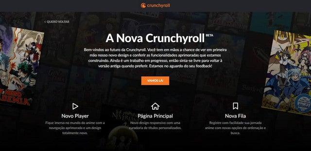 menu da nova crunchyroll