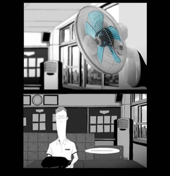 sala com ventilador real
