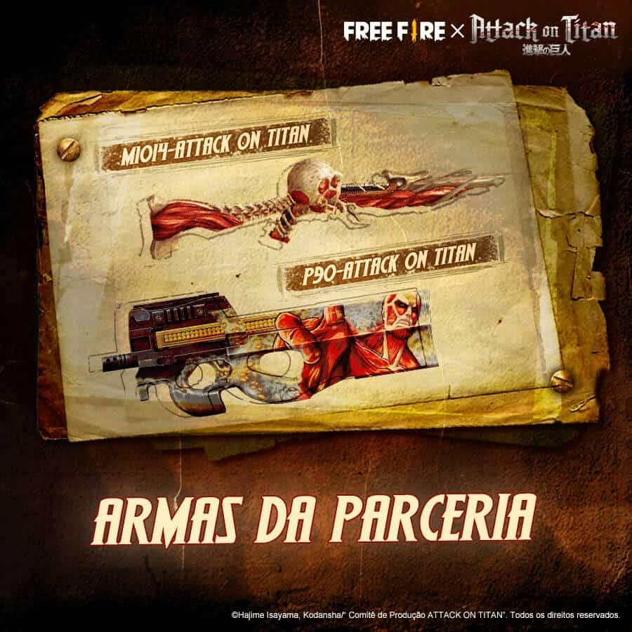 skins das armas de attack on titan em free fire