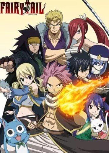 natsu e os outros personagens principais de fairy tail reunidos