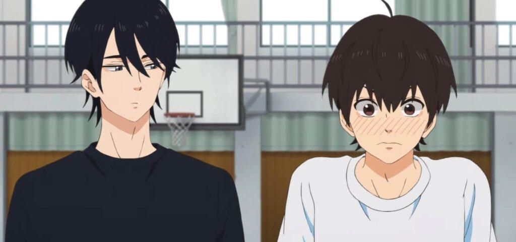 Imagem de Misato, à esquerda, olhando para Futaba envergonhado, à direita